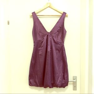 Beautiful Purple Satin Balloon Puff Dress